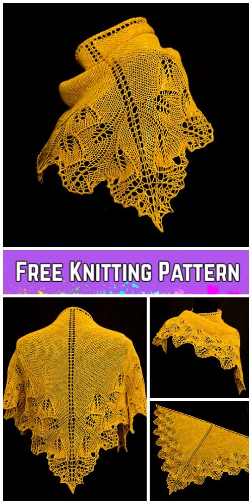 Knit Ginkgo Shoulderette Shawl Free Knitting Pattern | häkeln ...