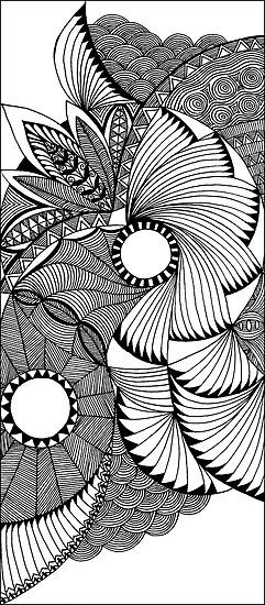 Flying Fans Black And White Zentangle By Myslewis Sharla Hicks