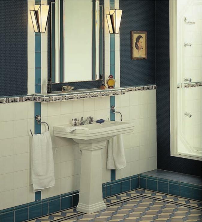 artworks art art deco manhattan border field tile half tile both brilliant white - Art Deco Bathroom Tiles Uk