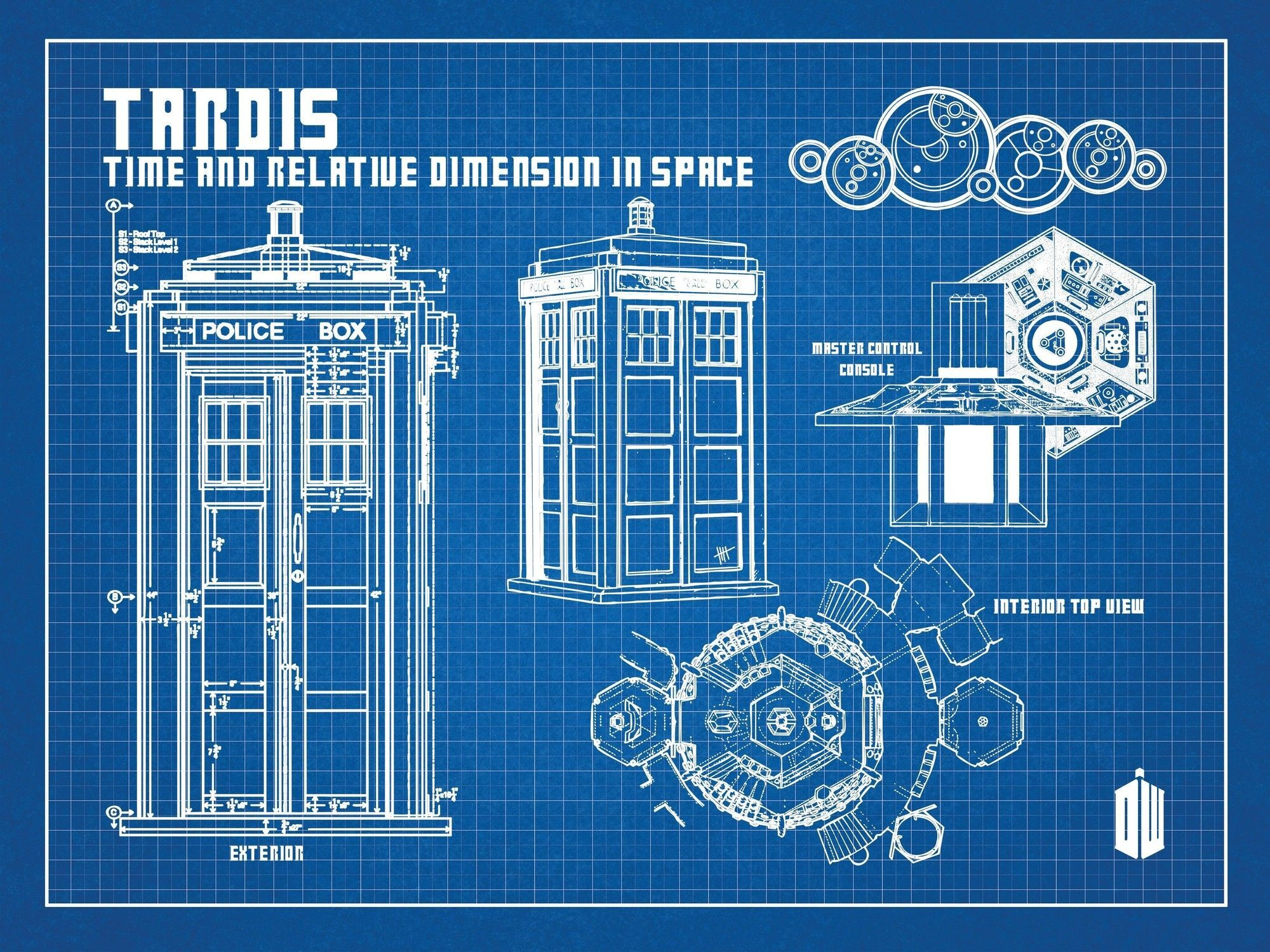 Doctor who tardis blueprint graphic art tardis geek stuff and doctor who tardis blueprint graphic art poster in blue gridwhite ink malvernweather Gallery