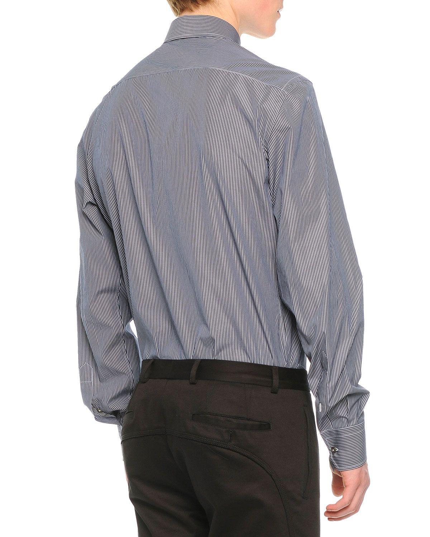 Striped Long-Sleeve Dress Shirt, Navy