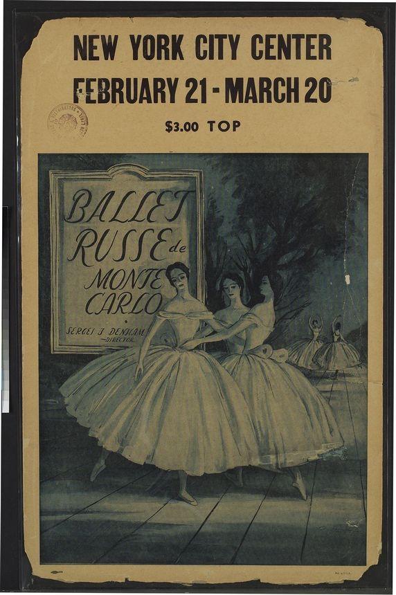 VINTAGE BALLET POSTER Petrouchka Ballet Russe DE MONTE CARLO