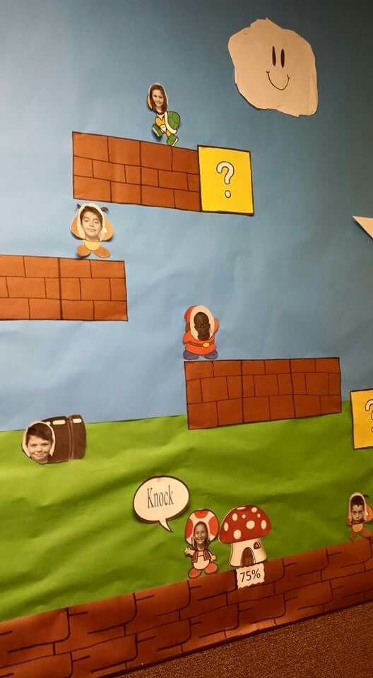 Teacher Classroom Decoration Games : My wall super mario bros theme jogathon pinterest