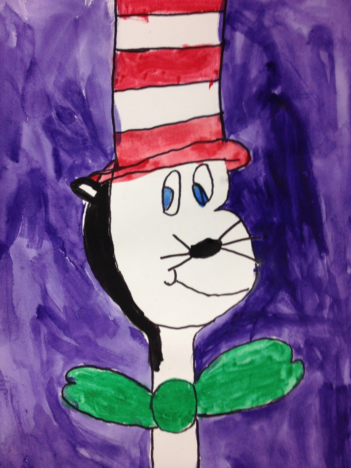 Cat In The Hat Watercolor For Dr Seuss Birthday First