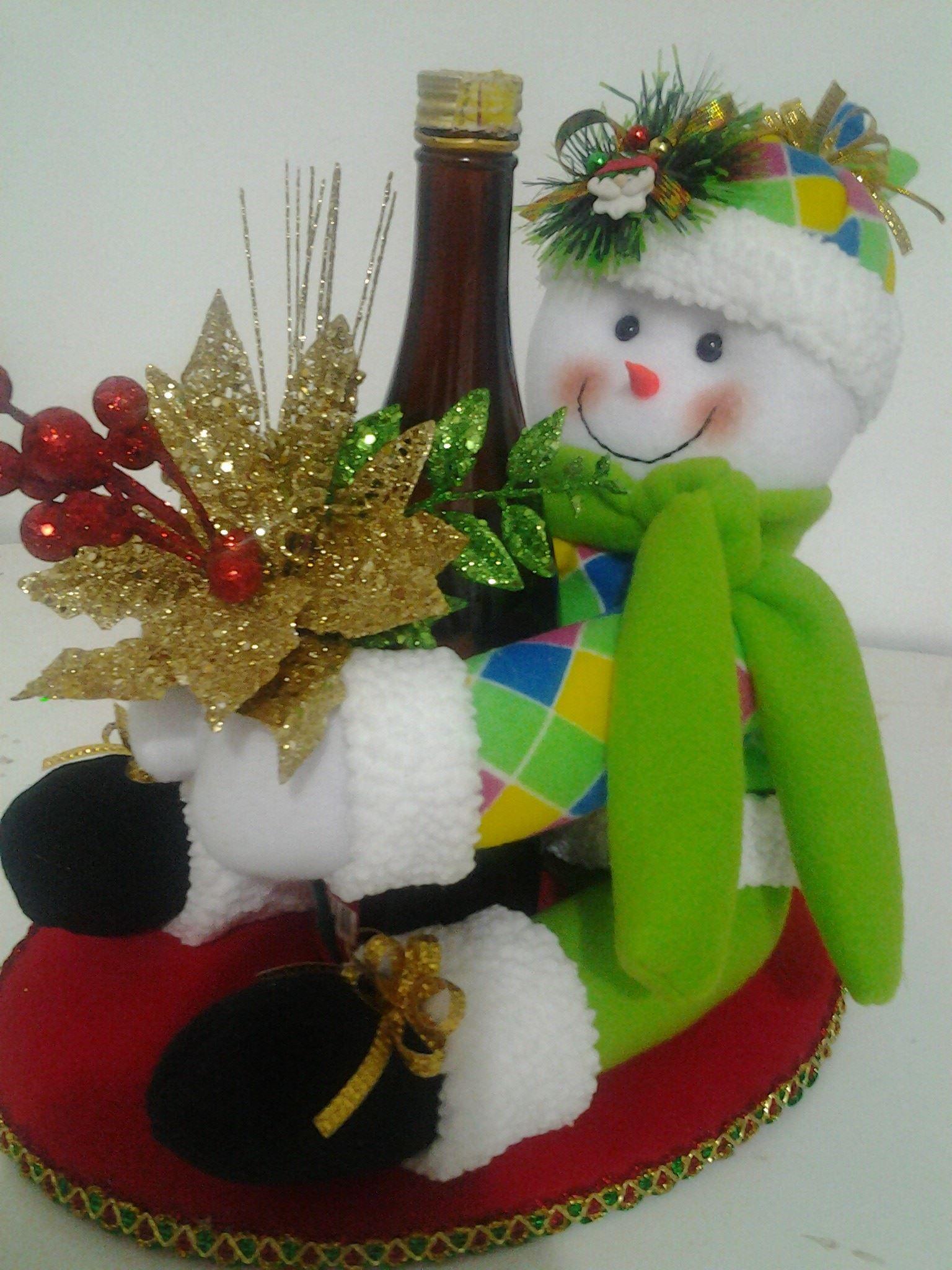 Nieve botellero mu ecos pinterest - Manualidades munecos de navidad ...