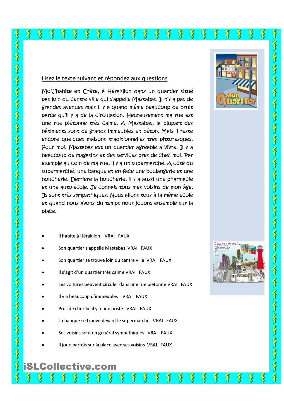 Description De Son Quartier Aprender Frances Clases De Frances