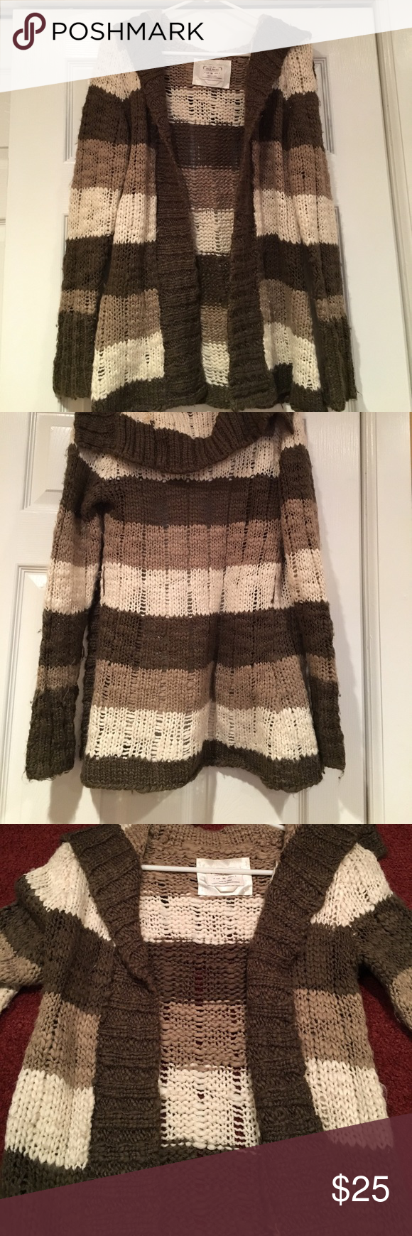 Brown striped long sweater | Long cardigan sweater, Long sweaters ...
