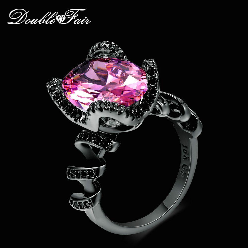 7097dbc659de6 Big Oval Pink Cubic Zirconia Ring Sets Black Gold Color Fashion ...