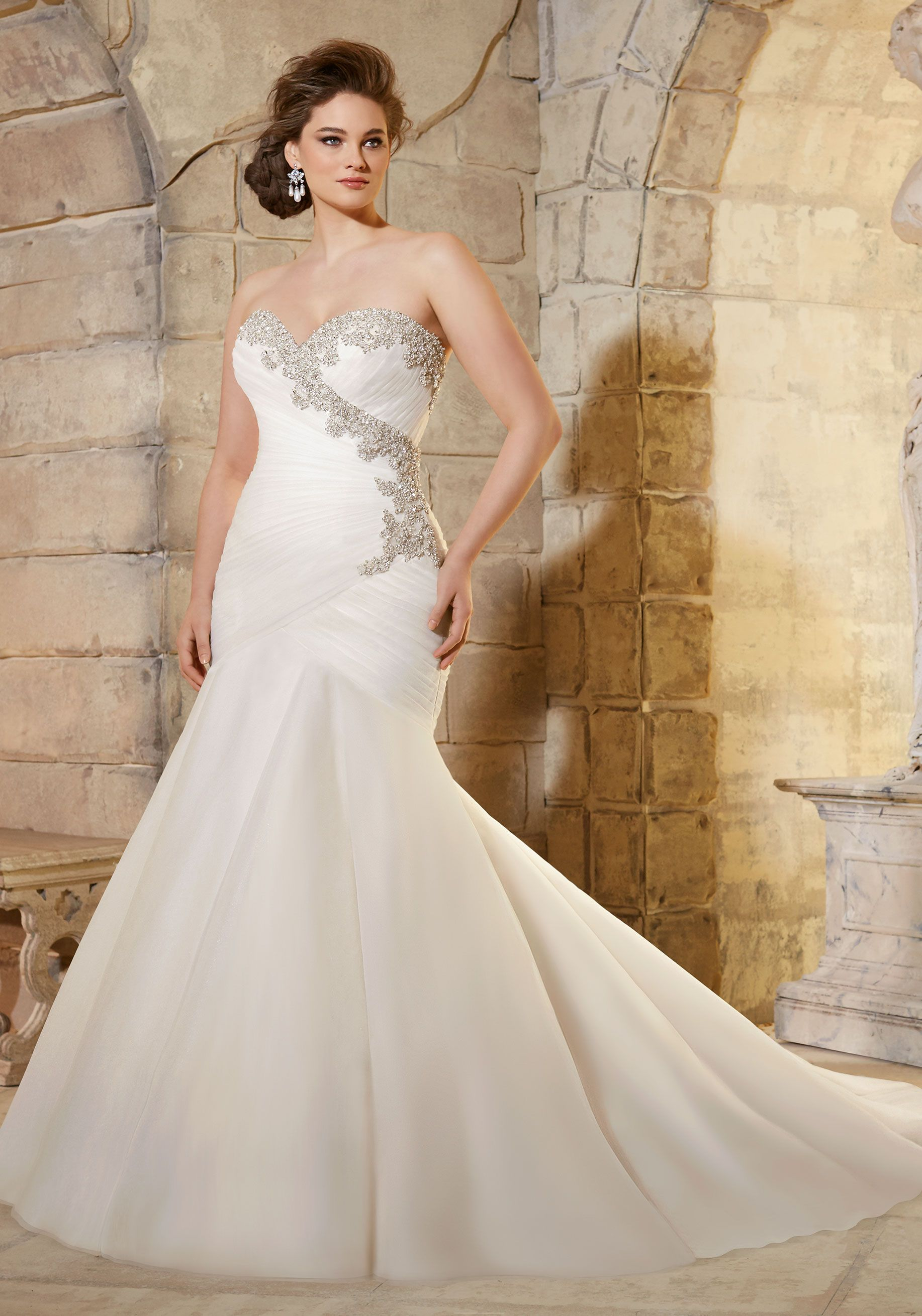 Simple Crystal Beaded Embroidery on Asymmetrically Draped Soft Net Plus Size Wedding Dress Designed by