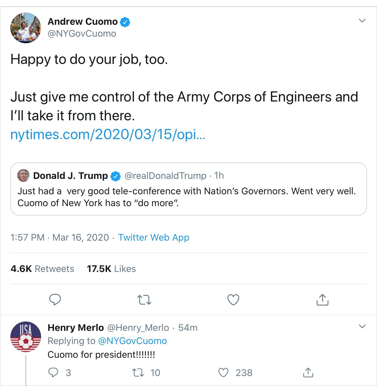 Please Let Cuomo Take Care Of The Entire Country In 2020 Army Corps Of Engineers Just Giving Army Corps