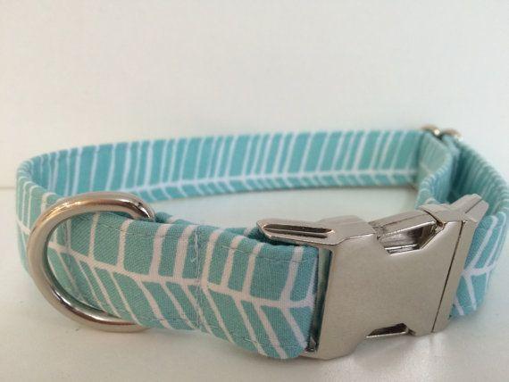 Custom Dog Collar  Baby Blue Herringbone  Metal by WalkintheBark