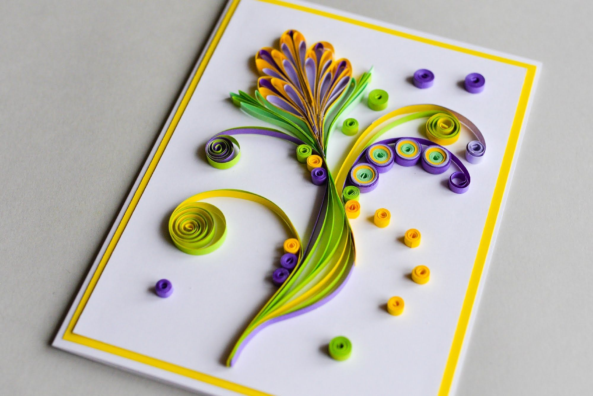 How To Make Greeting Card Quilling Flower Step By Step Kartka