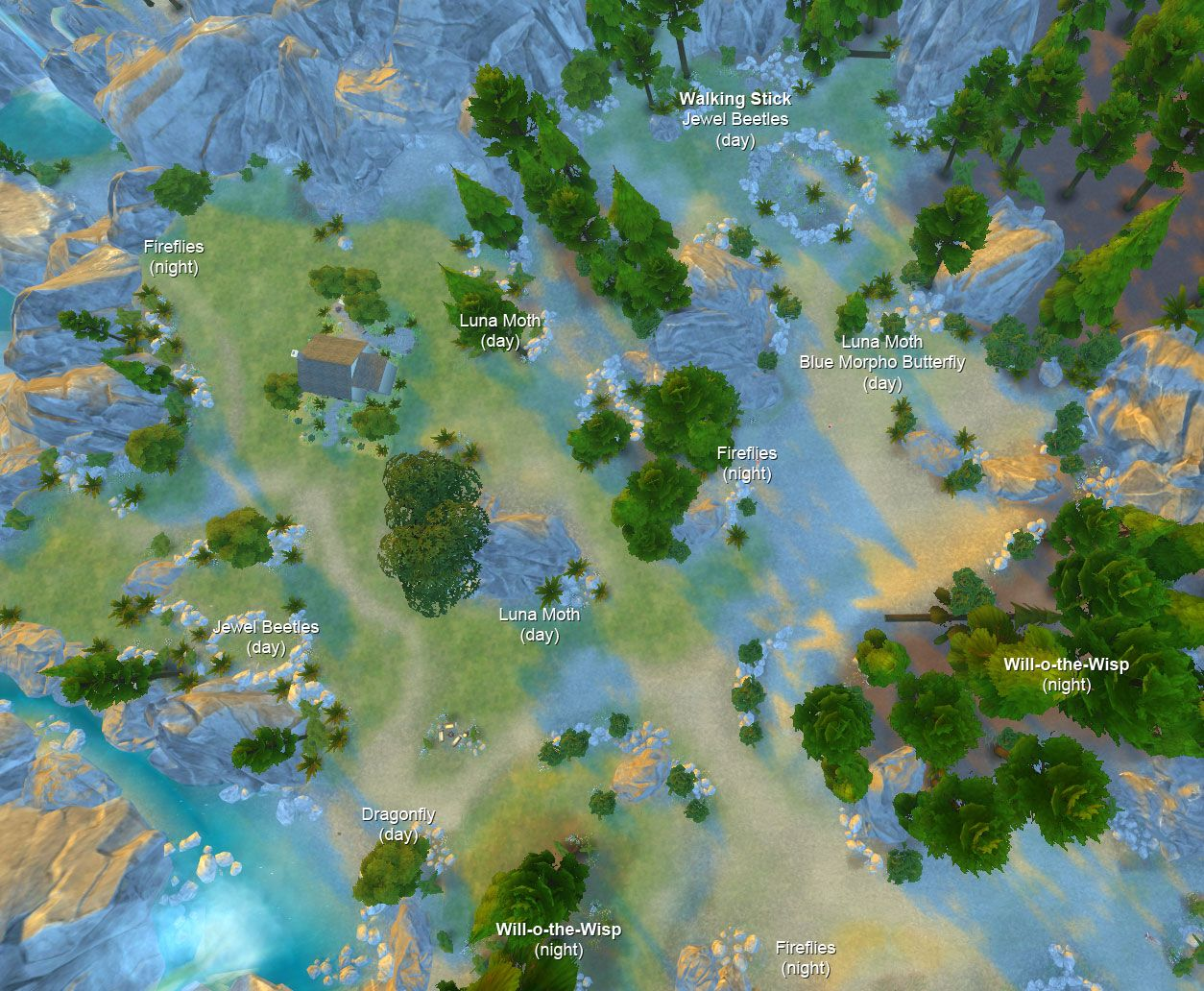 Insects Location Map Secret Area | sims 4 | Sims 4, Sims 4