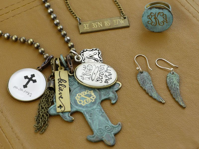 Generations Necklace + accessories by Initial Outfitters   Personalize with monogram, coordinates, dates, and more