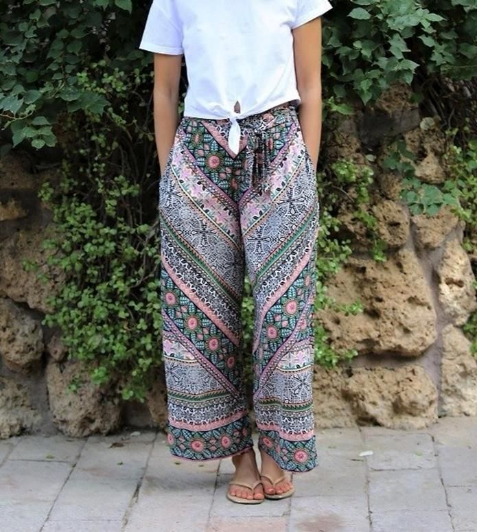 dda4b022c2 Angie Wide loose boho casual day summer pants. Back elastic waist with  decorative non adjustable