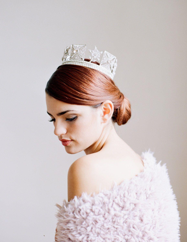 Bridal tiaras and veils - Bridal Tiara Full Crown Tiara Elizabeth Swarovski Bridal Tiara Crown Crystal Wedding Crown Crown Tiara Wedding Tiara Diamante Crown