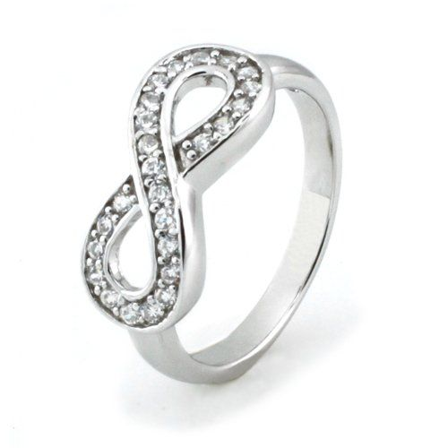925 STERLING SILVER LADIES INFINITY WEDDING BAND W// CZ SZ 5,6,7,8,9 AVAILABLE
