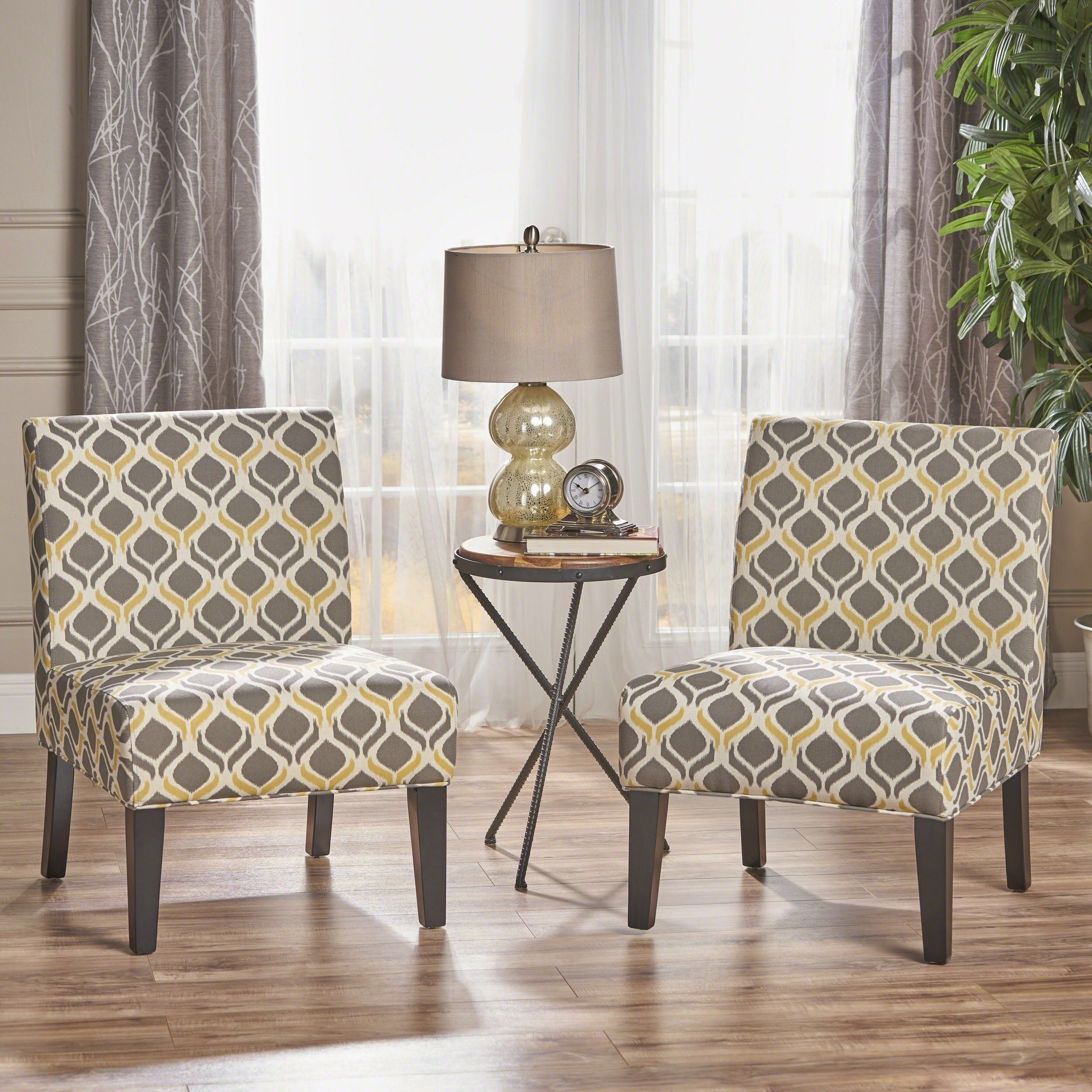 Saloon Contemporary Fabric Slipper Accent Chair Set Of 2 By Christopher Knight Home Accent Chairs For Living Room Fabric Accent Chair Yellow Accent Chairs