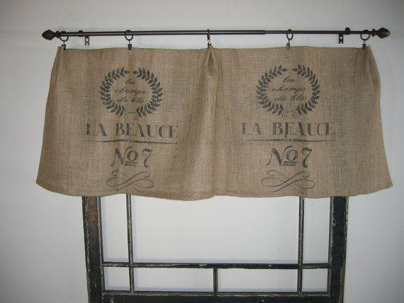French Feed Grain Sack Bag Burlap Valance Curtain Panel Burlap Valance Farmhouse Style Kitchen Curtains Farmhouse Kitchen Curtains