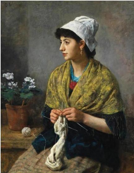 Otto Scholderer «Girl Knitting» 1881