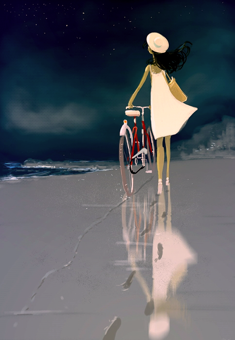 Campion, Pascal - Woman w Bike on Beach, Night (DeviantArt)