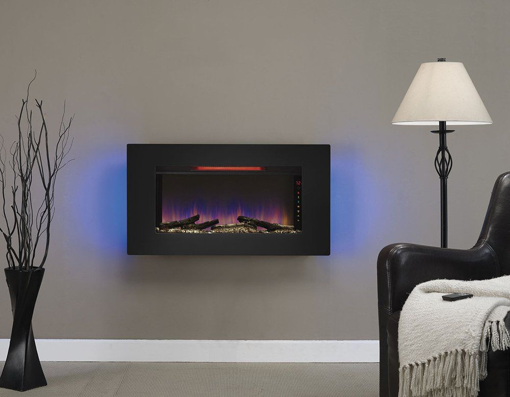 Clicflame 36 In Elysium Infrared Wall Hanging Electric Fireplace 36ii100grg