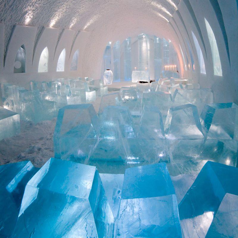 ICEHOTEL Ice Church by Javier Opazo, Jens Thoms Ivarsson, Mats Nilsson & Ethan Friedman. Photo by Photobigben.com.