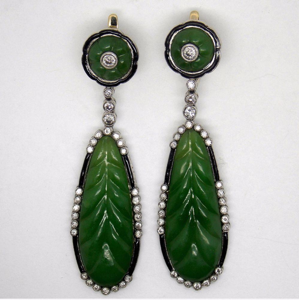 Vintage Art Deco  Platinum 1.75 ct  Old Diamonds  Nephrite Earrings
