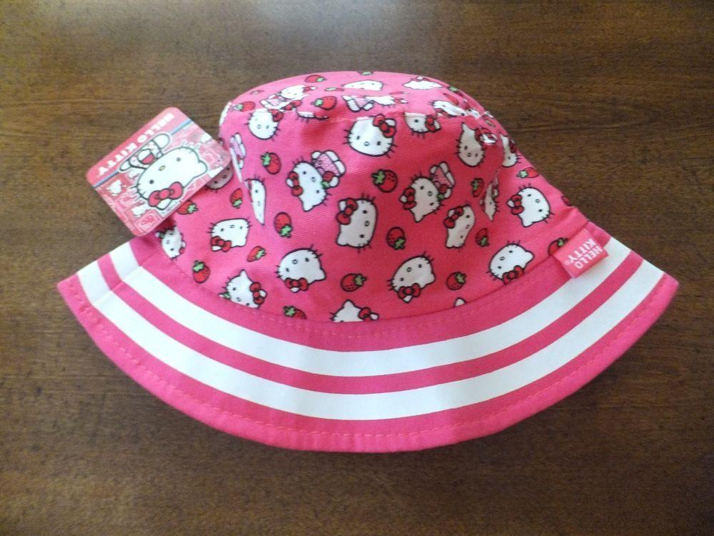 38416541d677e NWT HELLO KITTY Toddler Girls   Young Girls Sun Hat Bucket Hat PINK    Strawberry  HelloKitty