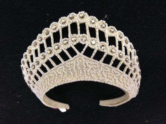 Vintage 1940s Beaded White Bridal/ Wedding Crown with Rhinestones and Seed beads