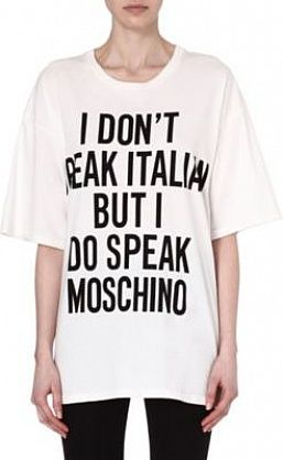 9732a2bec0169 #Moschino I Don't Speak Italian cotton t-shirt White £135 #Slogan  #Statement #logo #trend #SS14 #fashion
