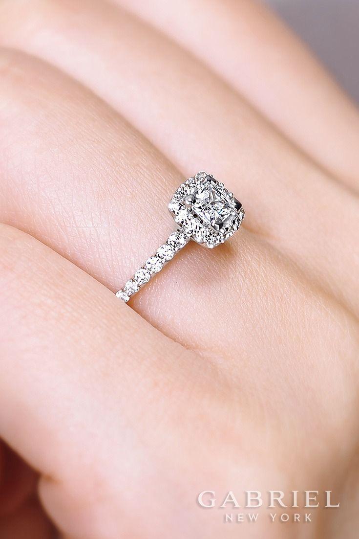 14k White Gold Princess Cut Halo Diamond - ER13907S3W44JJ | Princess ...