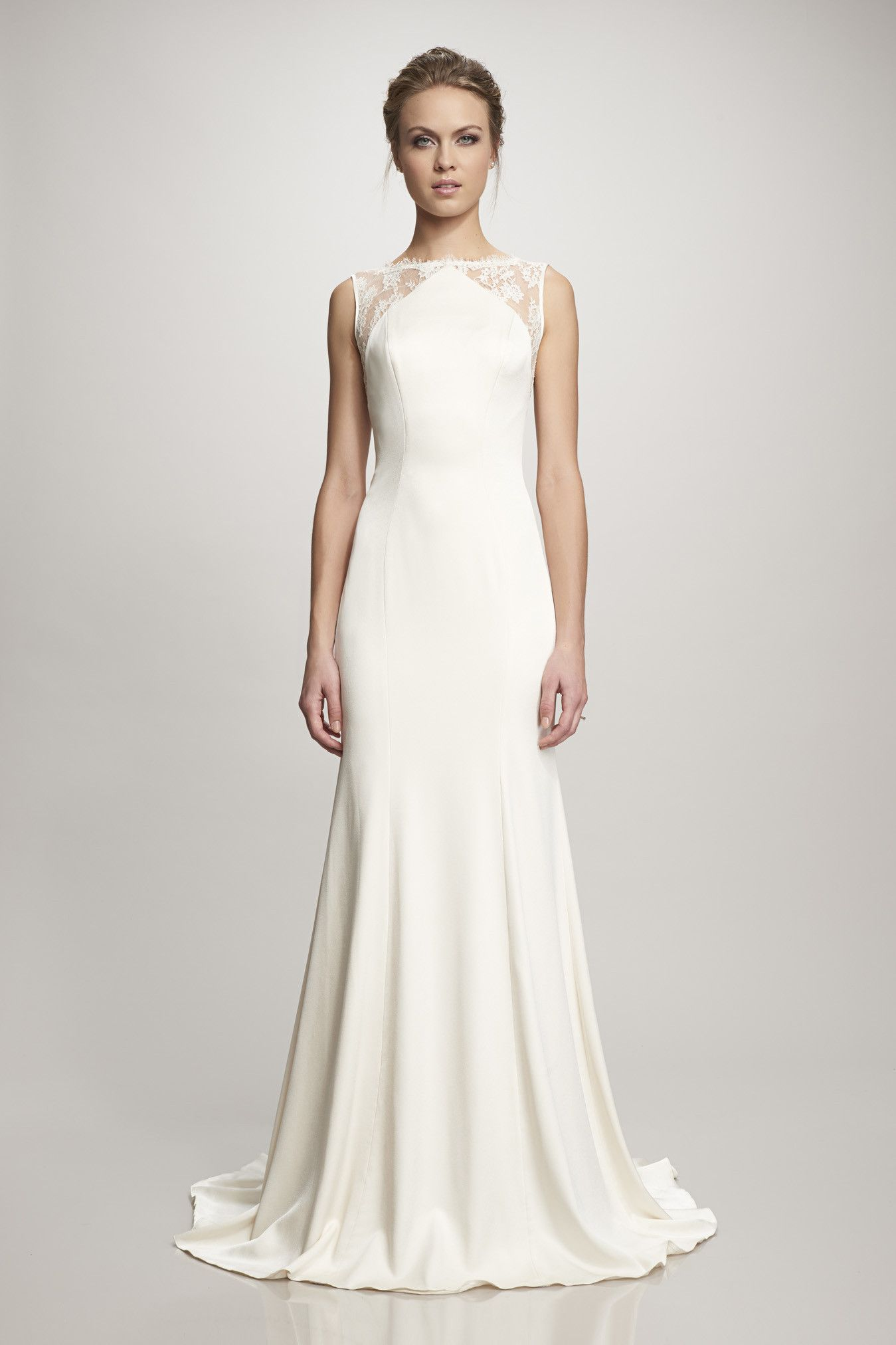 Ivory crepe gown with lace back Used wedding dresses
