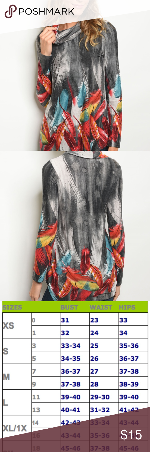 Download Mock neck printed jersey tunic top TO-FS422190 Stylish ...