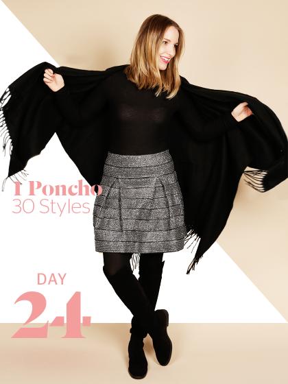 Unsere Stylight Challenge: 30 Tage Poncho tragen - aber immer anders kombiniert. Für einen schicken Winterlook kann man schwarze Overknees und einen Metallic-Rock als Highlight kombinieren.