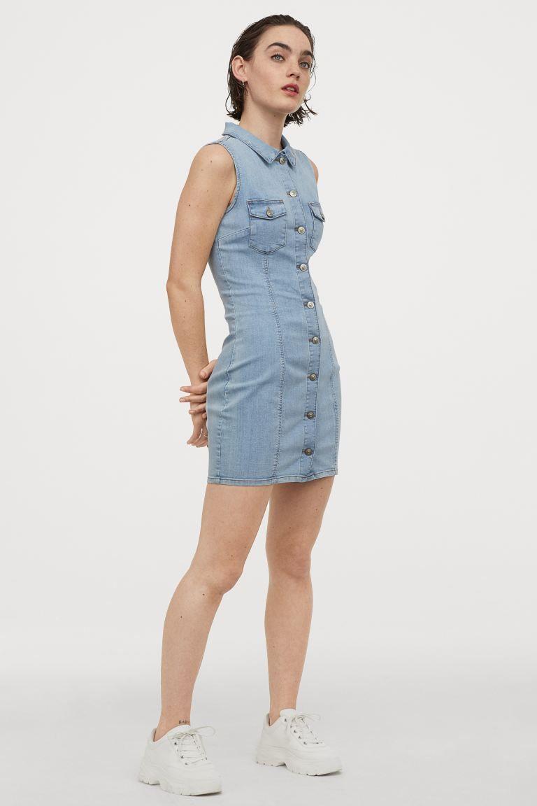 tailliertes jeanskleid - hellblau - ladies | h&m de | light
