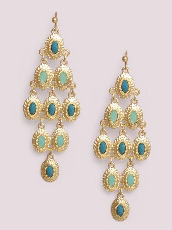 Peacock Stones Chandelier Earrings $16