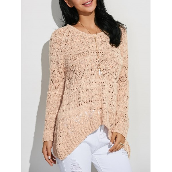 24.73$  Buy now - http://di314.justgood.pw/go.php?t=200609102 - Ribbed Asymmetrical Openwork Knitwear