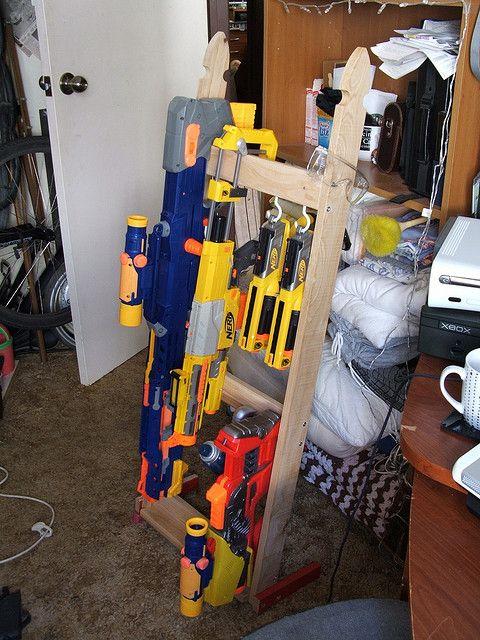 Nerf Gun Rack by arakaraath, via Flickr