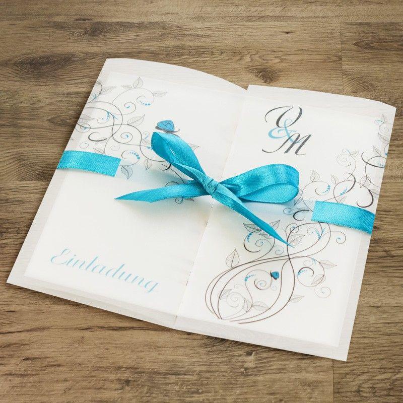 #Einladungskarte #wedding #invitation #blau #Ranken #turquoise  #Hochzeitseinladung