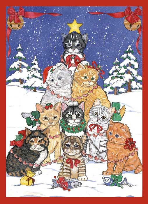 kitty tree by mary badenhop a christmas card sold by the humane society - Humane Society Christmas Cards