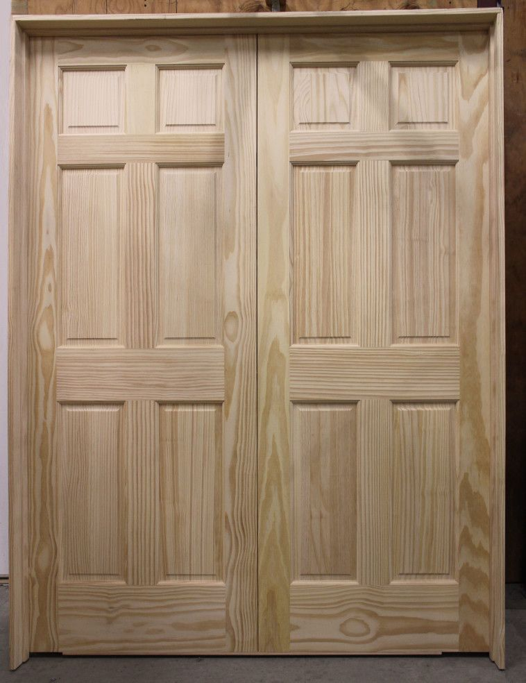 Unfinished Maple Wood Double Prehung Closet Door With Modern