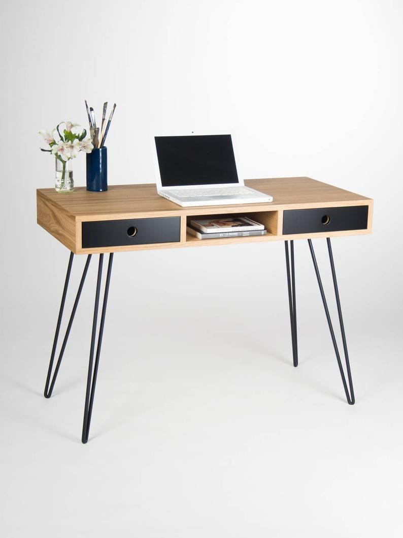 Home Office Desk Industrial Small Table Bureau With Black Etsy In 2020 Home Office Desks Modern Computer Desk Desk Design