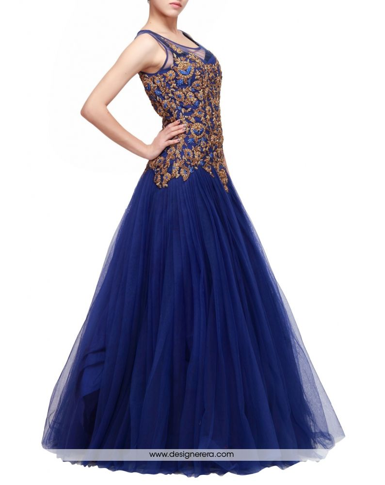 Awesome Navy Blue Designer Net Gown Occasion Wedding Wear Party Engagement Reception Collection Color
