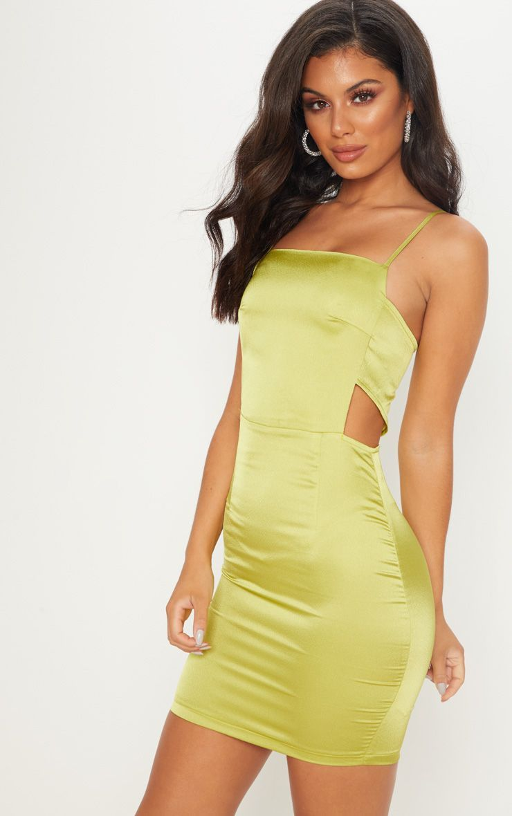 a494a0d1fae The Lime Satin Cut Out Side Bodycon Dress. Head online and shop this  season s range of dresses at PrettyLittleThing. Express delivery available.