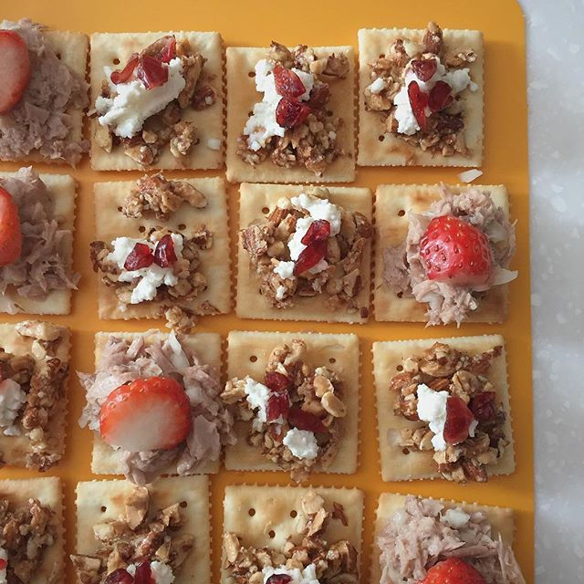 Appetizer canape_unsalted cracker, tuna and strawberry_nuts, honey, ricotta cheese and cranberry 🍓