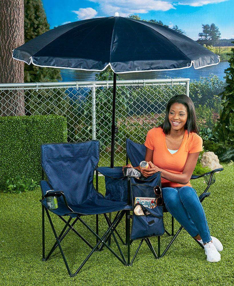 Double chair wumbrella cooler portable collapsible