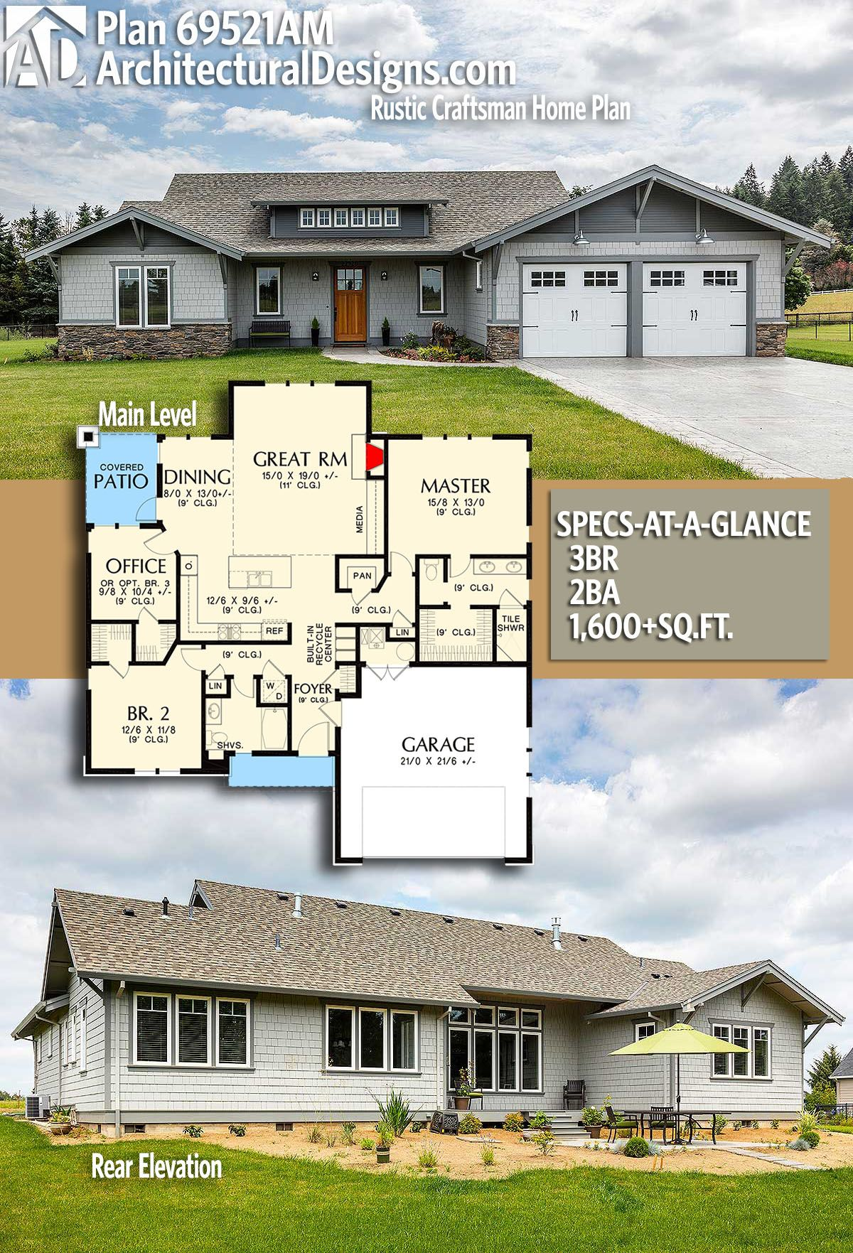Plan 69521AM: Rustic Craftsman Home Plan | Architectural design ...