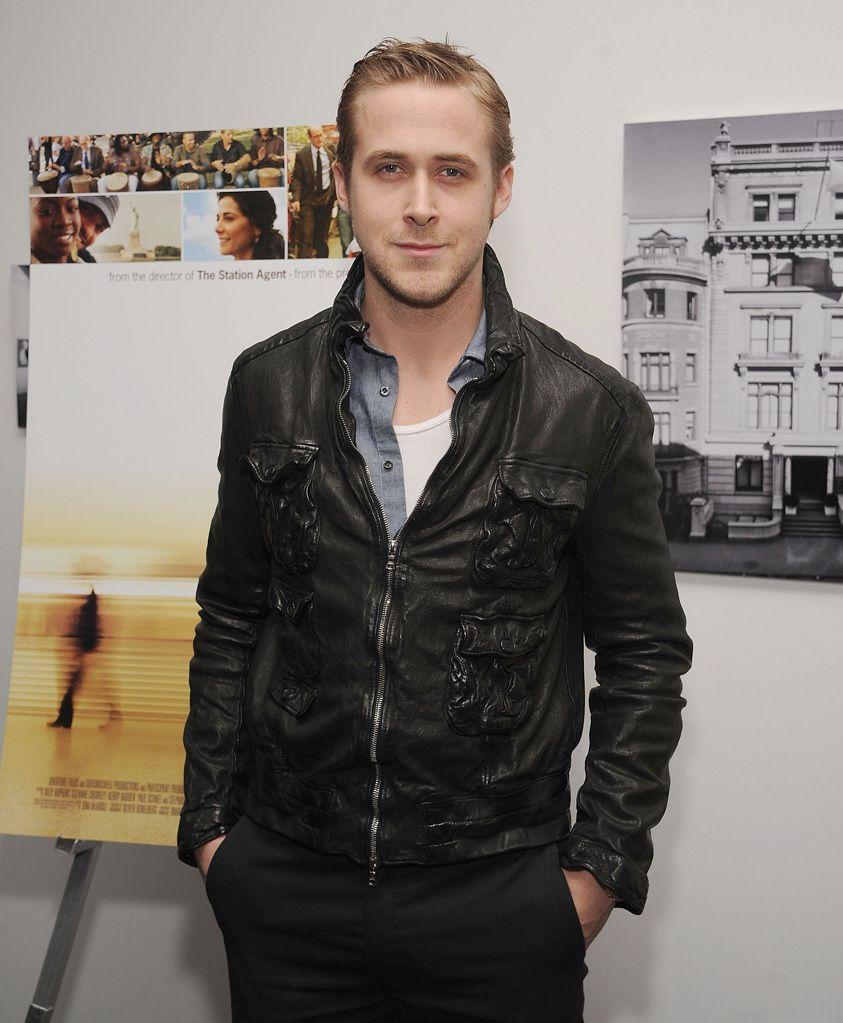 Ryan Gosling wearing Black Leather Bomber Jacket, Grey ...