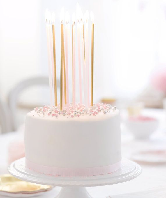 Stupendous 16 Tall Party Candles Pink Gold White Or Blue Silver White Personalised Birthday Cards Akebfashionlily Jamesorg